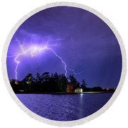 Lightning Bolt Cracks Over Lake Wendouree Round Beach Towel