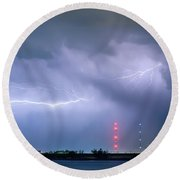 Lightning Bolting Across The Sky Round Beach Towel