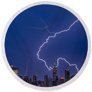 Lightning Bolts Over New York City Round Beach Towel