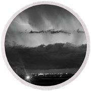 Lightning Cloud Burst Black And White Round Beach Towel