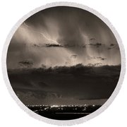 Lightning Cloud Burst Boulder County Colorado Im39 Sepia Round Beach Towel
