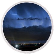 Lightning Cloud Burst Round Beach Towel