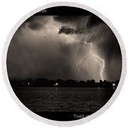 Lightning Energy Poster Print Round Beach Towel