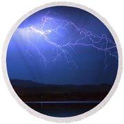 Lightning From Heaven Round Beach Towel