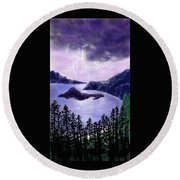Lightning In Purple Clouds Round Beach Towel