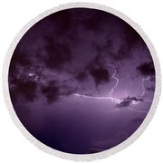 Lightning In The Clouds  Round Beach Towel