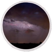 Lightning In The Sky Round Beach Towel