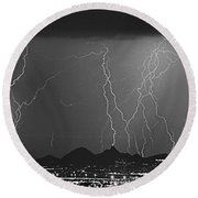 Lightning Long Exposure Round Beach Towel