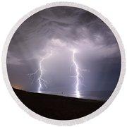Lightning On The Beach #2 Round Beach Towel