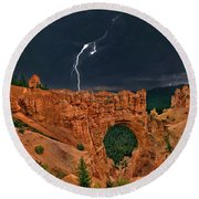 Lightning Over Natural Bridge Formation Bryce Canyon National Park Utah Round Beach Towel by Dave Welling