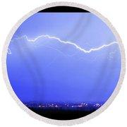 Lightning Over North Boulder Colorado  Poster Lm Round Beach Towel
