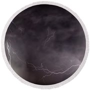 Lightning Over Perris Round Beach Towel