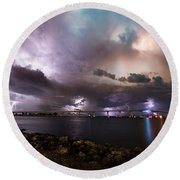 Lightning Over The Sanibel Bridge Round Beach Towel