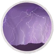 Lightning Over The Mountains Round Beach Towel