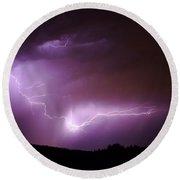 Lightning Reaching Down  Round Beach Towel