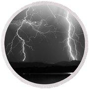 Lightning Storm 08.05.09 Bw Round Beach Towel