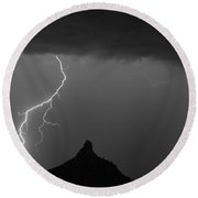 Lightning Storm At Pinnacle Peak Scottsdale Az Bw Round Beach Towel by James BO  Insogna