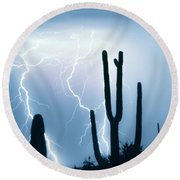 Lightning Storm Chaser Payoff Round Beach Towel