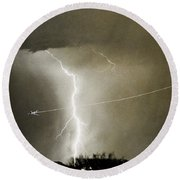 Lightning Storm City Lights Jet Airplane Fine Art Photography Round Beach Towel