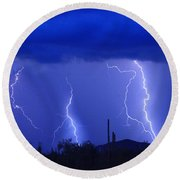 Lightning Storm In The Desert Fine Art Photography Print Round Beach Towel