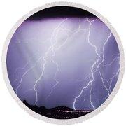 Lightning Storm North Scottsdale Az 85255 Round Beach Towel