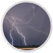 Lightning Storm  Power Lines Car Trails Round Beach Towel