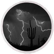 Lightning Storm Saguaro Fine Art Bw Photography Round Beach Towel