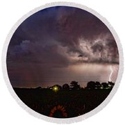 Lightning Stormy Weather Of Sunflowers Round Beach Towel