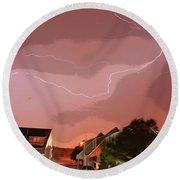 Lightning Strike Round Beach Towel