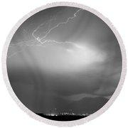 Lightning Strikes Over Boulder Colorado Bw Round Beach Towel