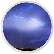 Lightning Strikes Over Boulder Colorado Round Beach Towel