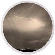 Lightning Strikes Over Boulder Colorado Sepia Round Beach Towel