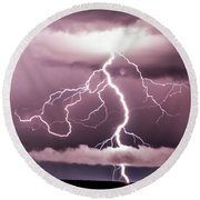 Lightning Strikes Round Beach Towel