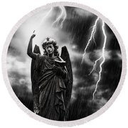 Lightning Strikes The Angel Gabriel Round Beach Towel