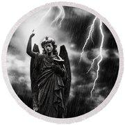 Lightning Strikes The Angel Gabriel Round Beach Towel by Amanda Elwell