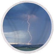 Lightning Striking At Sunset Rocky Mountain Foothills Round Beach Towel