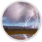 Lightning Striking Longs Peak Foothills 4 Round Beach Towel