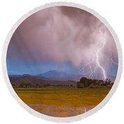 Lightning Striking Longs Peak Foothills 7c Round Beach Towel