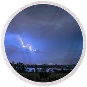 Lightning Striking Over Boulder Reservoir Round Beach Towel