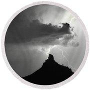 Lightning Striking Pinnacle Peak Arizona Round Beach Towel