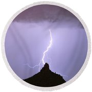 Lightning Striking Pinnacle Peak Scottsdale Az Round Beach Towel