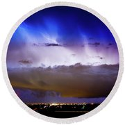 Lightning Thunder Head Cloud Burst Boulder County Colorado Im39 Round Beach Towel by James BO  Insogna