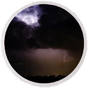 Lightning Thunderstorm Cell 08-15-10 Round Beach Towel by James BO  Insogna