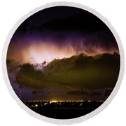 Lightning Thunderstorm Cloud Burst Round Beach Towel by James BO  Insogna
