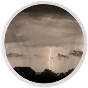 Lightning Thunderstorm July 12 2011 Strikes Over The City Sepia Round Beach Towel