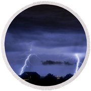 Lightning Thunderstorm July 12 2011 Two Strikes Over The City Round Beach Towel