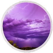 Lightning Totalitty 004 Round Beach Towel