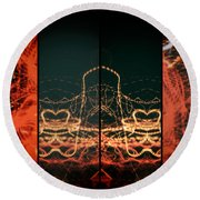 Lightpainting Quads Art Print Photograph 1 Round Beach Towel