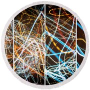 Lightpainting Quads Art Print Photograph 3 Round Beach Towel
