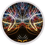 Lightpainting Symmetry Wall Art Print Photograph 1 Round Beach Towel